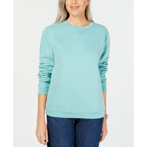 Karen Scott Women's Petite Long-Sleeve Crewneck Sweatshirt Aqua Size Small