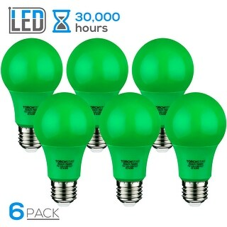 TORCHSTAR 7W Green LED A19 Colored Light Bulb, E26/E27 Base, for Independence Day, Veterans Day, Christmas, 30,000hrs, Pack of 6