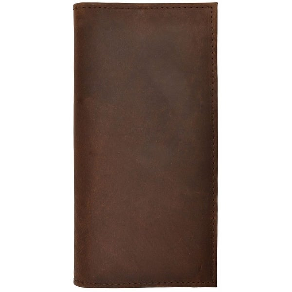 3D Wallet Mens Leather Rodeo Checkbook ID Window Dark Brown - One size