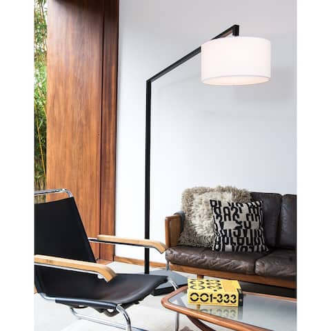 Stretch Black 1-Light Chairside Arc Lamp