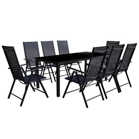 vidaXL Outdoor Dining Set 9 Pieces Aluminum Black
