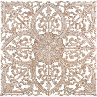 Link to Barclay Hand Carved Natural Floral 35-inch Square Wall Panel Similar Items in Wood Wall Art