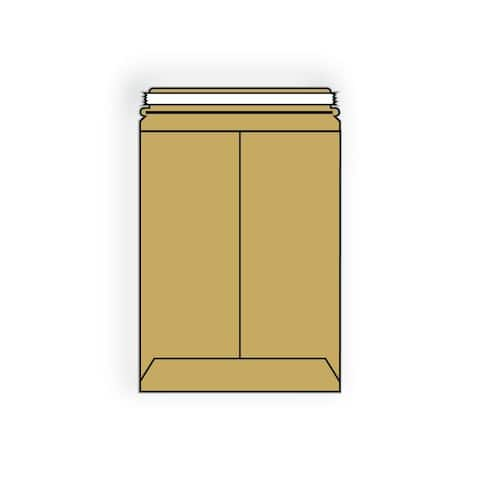 """Open End No Bend Mailer Envelopes, 12-1/2"""" x 18"""", .018#, Tan, 100% Recycled Board, Center Seam, Tear Strip (Box of 200)"""
