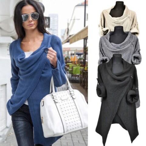 Women Irregular Casual Loose Shawl Long Sleeves Lady Knit Sweater Coat