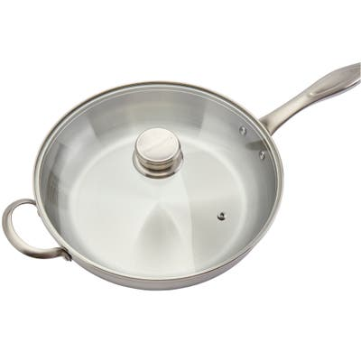 """Frigidaire Ready Cookware 12"""" Stainless Steel Fry Pan with Lid"""