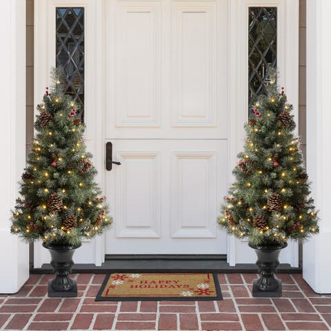 Glitzhome 4/5 Ft Flocked Pine Christmas Tree With Lights Pinecone and Berries