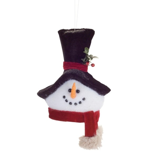 Pack of 6 Black Red and White Snowmen Head Christmas Ornaments 9.5""