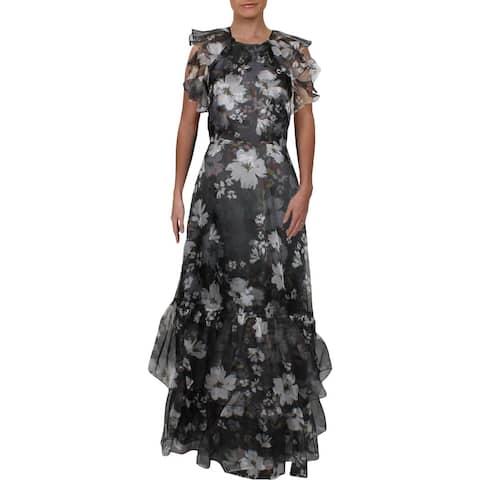 Shoshanna Womens Thea Formal Dress Silk Floral Print - Jet Black/Optic White/Maroon
