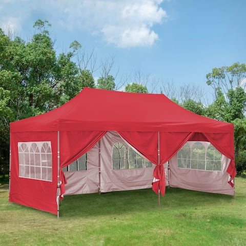 Ainfox 10x20Ft Pop up Canopy Tent Party Heavy Duty Instant Gazebo with 4 Removable Sidewalls