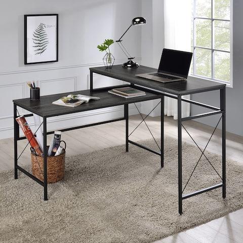 Furniture of America Arts Modern Grey L-shaped Desk with USB Ports