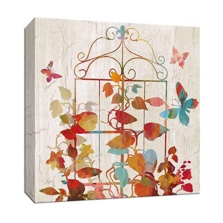 """PTM Images 9-147078  PTM Canvas Collection 12"""" x 12"""" - """"Rainbow Trellis II"""" Giclee Leaves Art Print on Canvas"""