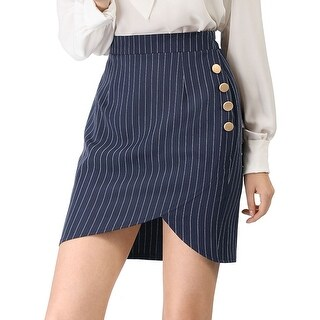 Women's Elastic Waist Button Decor Stripe Asymmetrical Skirt - Blue