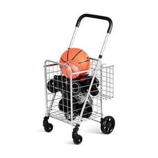 Costway Folding Shopping Cart Jumbo Basket Rolling Utility Trolley Adjustable Handle New
