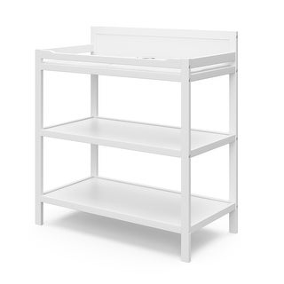 Alpine Changing Table with Water-Resistant Change Pad and Safety Strap - 2 Open Shelves, JPMA Certified, 1-Year Warranty