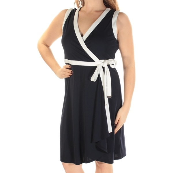 1c7e7d8cc21 Shop TOMMY HILFIGER Womens Navy Sleeveless V Neck Knee Length Wrap Dress  Wear To Work Dress Size: 2 - Free Shipping On Orders Over $45 - Overstock -  ...