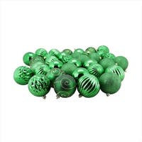 35 Count Green 3-Finish Shatterproof Christmas Ball Ornaments - 3 in.