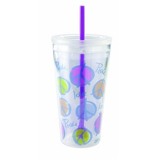 Copco Minimus Tumbler with Straw, 24-Ounce, Peace Purple