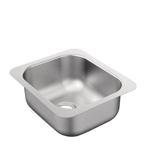 """Moen G204502B 2000 Series 12"""" Undermount Single Basin Stainless Steel Bar Sink with Rear Drain - Brushed/Satin Stainless"""