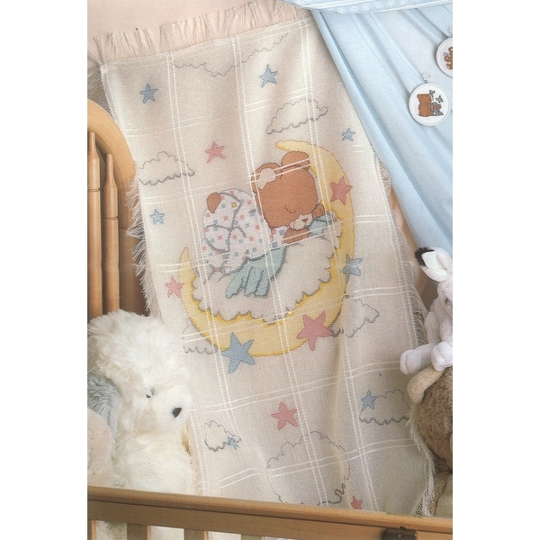 "Sleeping Teddy Bear Baby Afghan Counted Cross Stitch Kit-29""X45"" 18 Count"