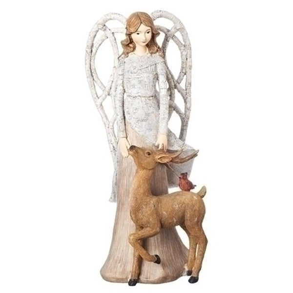 "Set of 2 Angel with Branch Wings and Fawn Christmas Figurines 13"" - WHITE"