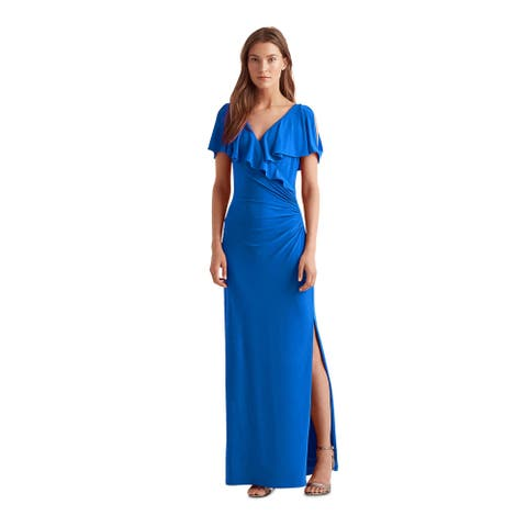 RALPH LAUREN Blue Short Sleeve Maxi Dress 14