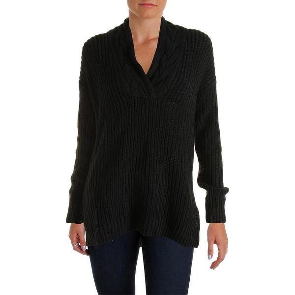 Lauren Ralph Lauren Womens Tunic Sweater Ribbed Knit Surplice