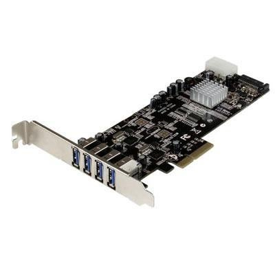 4 Port Pci Express (Pcie) Superspeed Usb 3.0 Card Adapter W/ 2 Dedicated 5Gbps Channels - Uasp - Sata / Lp4 Power