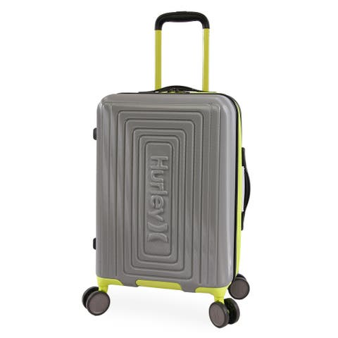 Hurley Suki 21-inch Carry On Hardside Spinner Suitcase - Grey/Neon