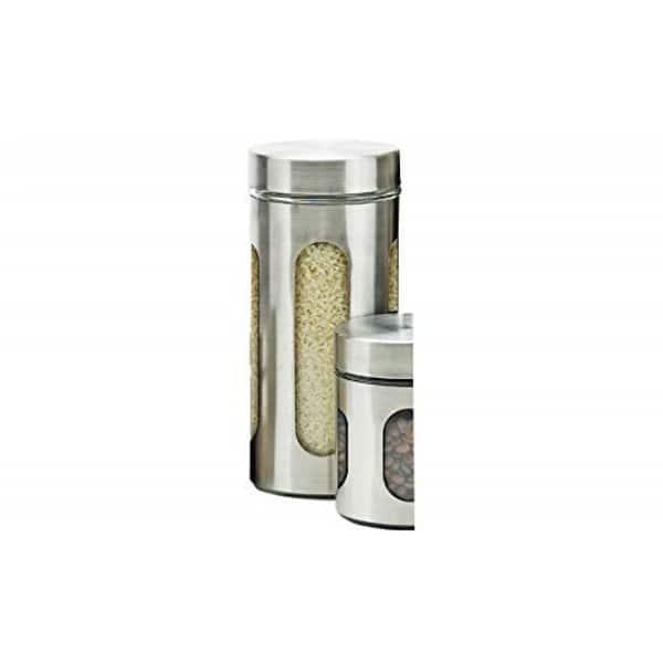 Shop Zanzer Stainless Steel Canister 3 Piece Food Storage ...