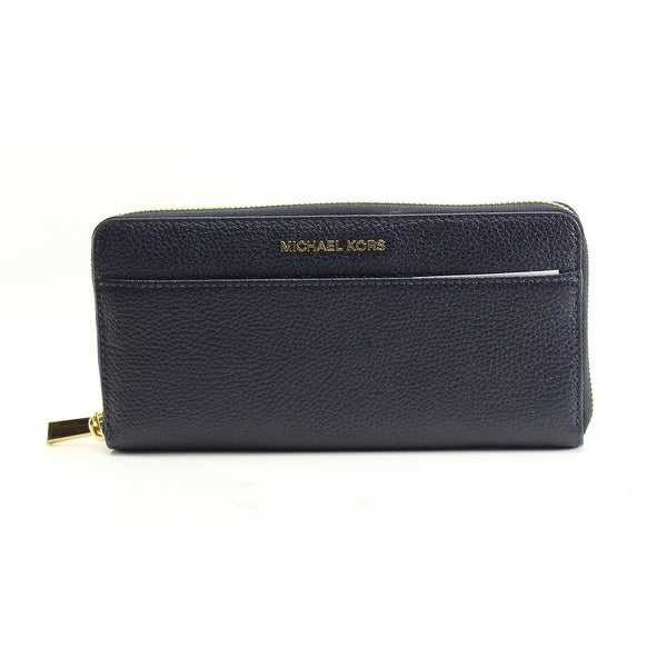 Michael Kors Blue Pebble Leather Mercer Continental Clutch Wallet