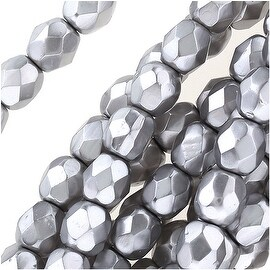 Czech Fire Polished Glass Beads 4mm Round Full Pearlized Coat - Light Gray (50)