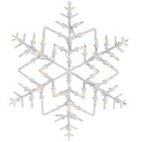 "13.5"" Lighted Snowflake Christmas Window Silhouette Decoration - WHITE"