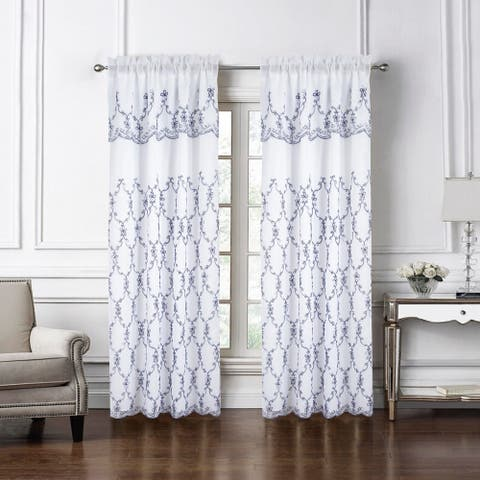 """Flare Embroidered Rod Pocket Window Curtain Panel - 54"""" x 84"""""""
