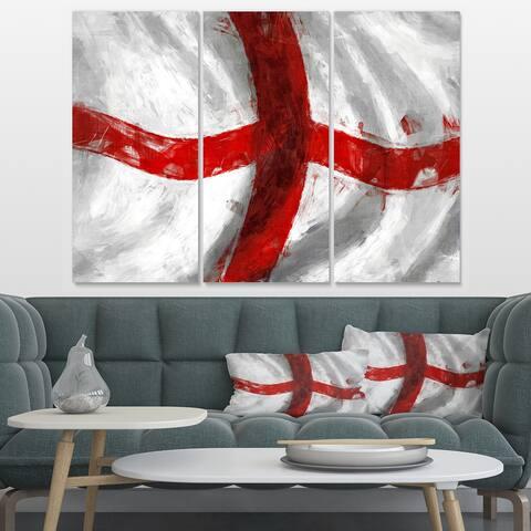 Designart 'Flag of England' Contemporary Canvas Art Print - 36x28 - 3 Panels