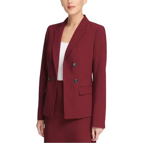 DKNY Womens Button Embellished Blazer Jacket, Red, 2