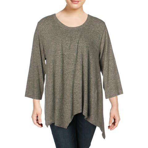 Nally & Millie Womens Plus Pullover Sweater Asymmetric 3/4 Sleeves - 1X