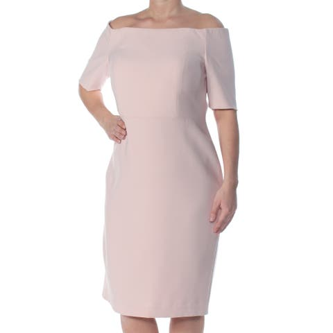 fe0f1113 CALVIN KLEIN Womens Pink Short Sleeve Boat Neck Below The Knee Sheath  Formal Dress Size: Was. $53.99. $23.28 OFF. Sale $30.71
