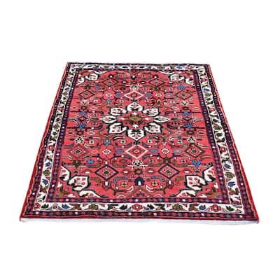 "Shahbanu Rugs Organic Wool New Persian Hamadan Flower Medallion Design Pink Hand Knotted Oriental Rug (3'5"" x 5'6"")"