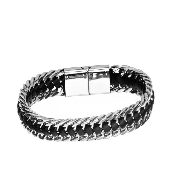 beec64c0af78d Inox Mens Stainless Steel & Black Leather Double Curb Chain Bracelet 8 1/2  inch long