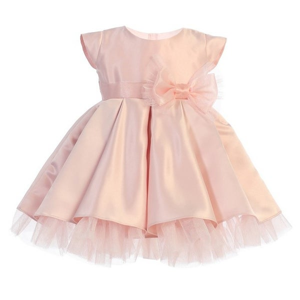 9072cc3d1c9c Shop Baby Girls Pink Full Pleated Satin Bow Flower Girl Dress - Free  Shipping Today - Overstock - 21281202