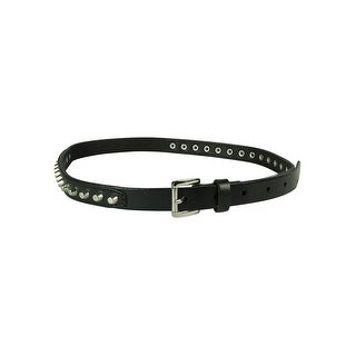 MICHAEL Michael Kors Women's Studded Genuine Leather Skinny Belt - Black
