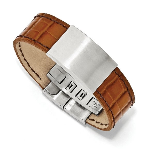 Chisel Stainless Steel Satin Textured  Light Brown Leather 8in ID Bracelet