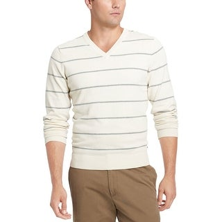 Izod Fine Gauge Striped V-Neck Sweater Egret Beige Cotton X-Large