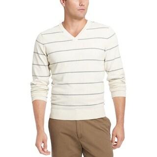 IZOD Fine Gauge V-Neck Sweater XL Egret Beige & Grey Striped Cotton $60