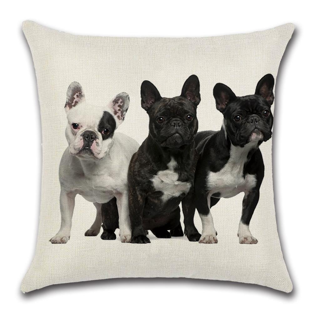 Cute 3 Black And White French Bulldog Decorative Throw Pillow Cover 18 X 18 On Sale Overstock 31456225