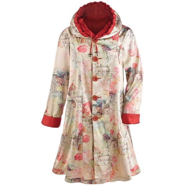 Women's Lightweight Red Reversible Raincoat