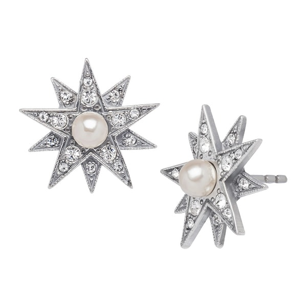 Van Kempen Victorian Simulated Pearl Star Earrings with Swarovski elements Crystals in Sterling Silver