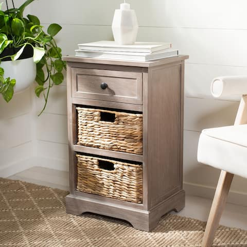 """SAFAVIEH Carrie White Washed Side Storage Side Table - 15.9"""" W x 13"""" L x 26"""" H"""