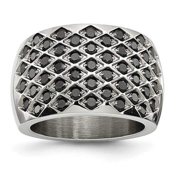 Stainless Steel Black CZs Polished Ring (15 mm)