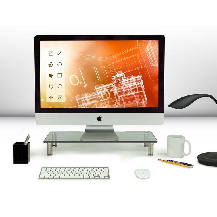 Computer Monitor Riser TV Stand Desktop Laptop Stands Glass Organzier Shelves